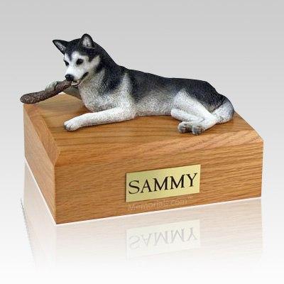 Husky Black & White X Large Dog Urn