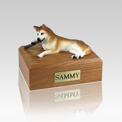 Husky Red & White Blue Eyes Medium Dog Urn