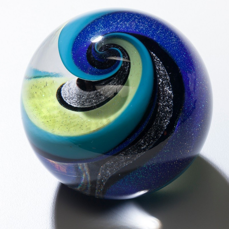 Infinity Blue & Green Glass Weight