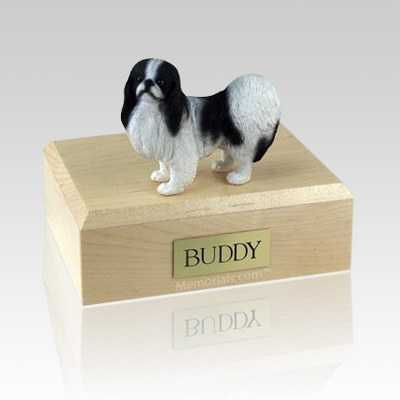 Japanese Chin Black & White Large Dog Urn