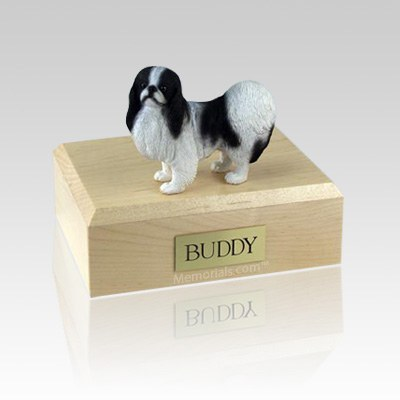 Japanese Chin Black & White Medium Dog Urn