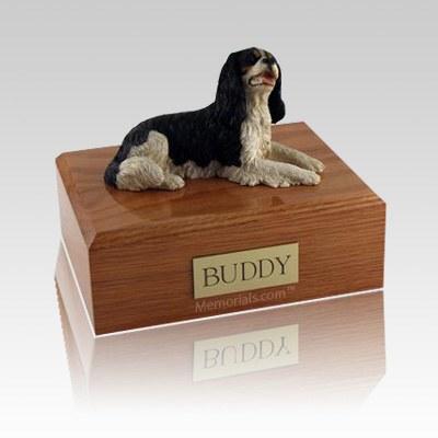 King Charles Spaniel Black Laying Large Dog Urn