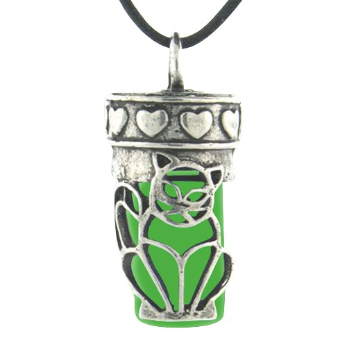 Kitty Green Pet Necklace Urn