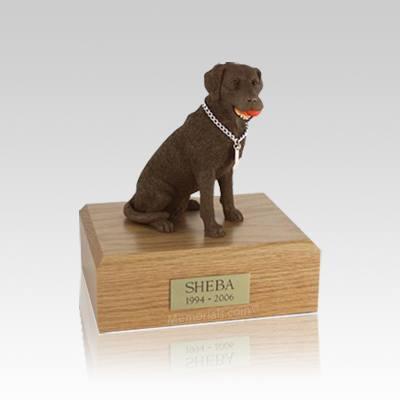 Labrador Chocolate Playing Small Dog Urn