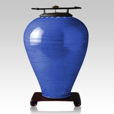 Raku Tall Lapis Companion Cremation Urn