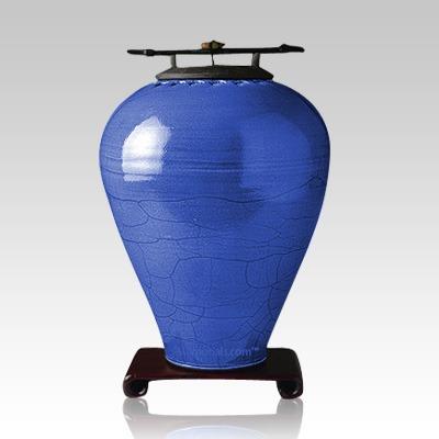 Raku Tall Lapis Cremation Urn