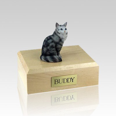 Maine Coon Silver Tabby Small Cat Cremation Urn