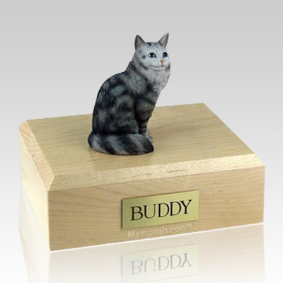 Maine Coon Silver Tabby Cat Cremation Urns