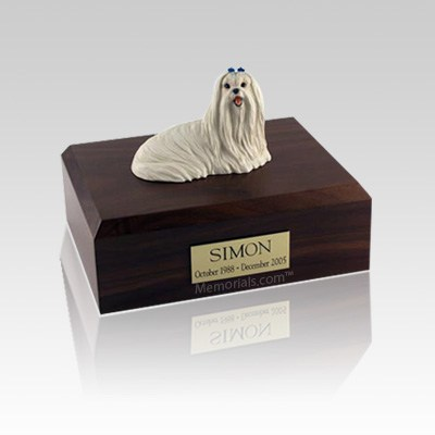 Maltese Sitting Small Dog Urn
