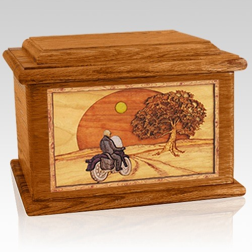 Motorcycle & Moon Mahogany Memory Chest Cremation Urn