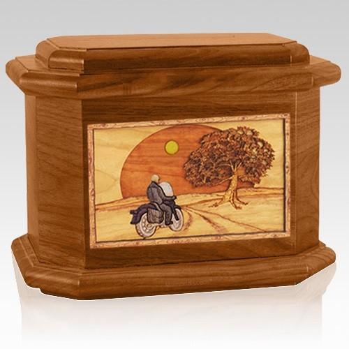 Motorcycle & Moon Mahogany Octagon Cremation Urn