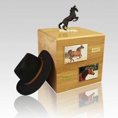 Mustang Black Full Size Large Horse Urn