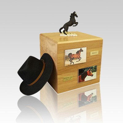 Mustang Black Full Size Small Horse Urn
