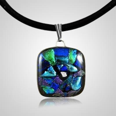 Oceanic Dichroic Square Glass Ash Pendant