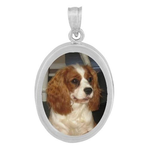 Oval White Gold Photo Pendant