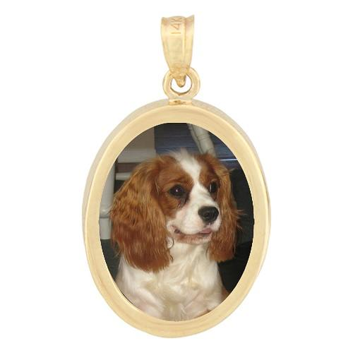 Oval Yellow Gold Photo Pendant