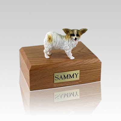 Papillon Brown & White Small Dog Urn