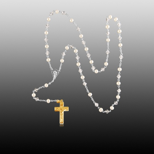 Pearl Gold Cremation Rosary