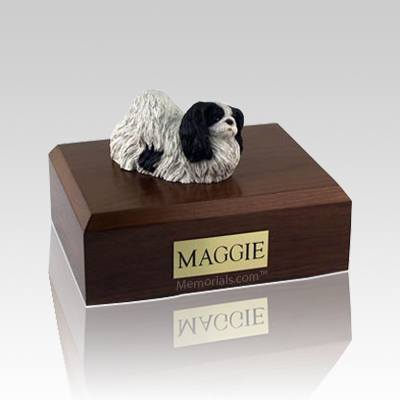 Pekingese Black & White Large Dog Urn