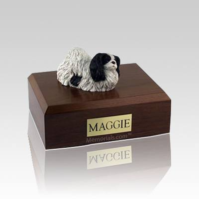 Pekingese Black & White Medium Dog Urn