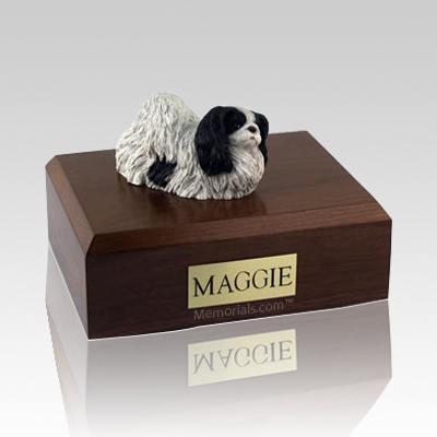 Pekingese Black & White X Large Dog Urn