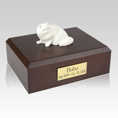 Persian White Laying Cat Cremation Urns