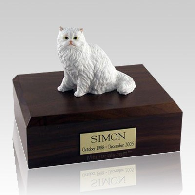 Persian White Sitting X Large Cat Cremation Urn