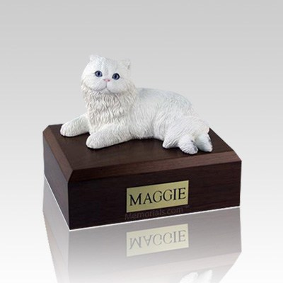 Persian White Small Cat Cremation Urn