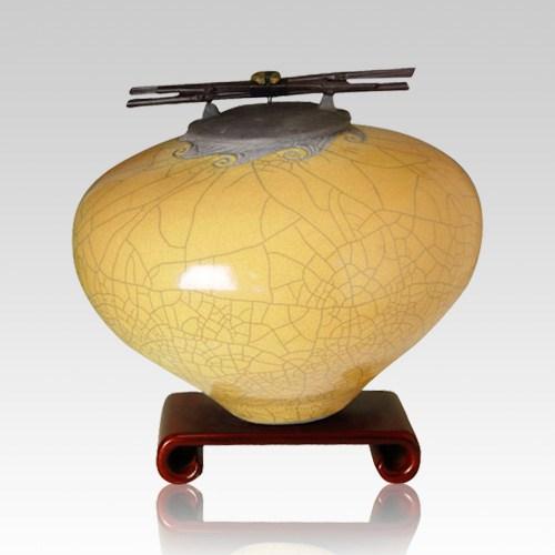 Raku Persimmon Large Cremation Urn
