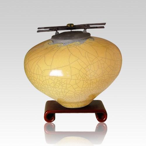 Raku Persimmon Medium Cremation Urn