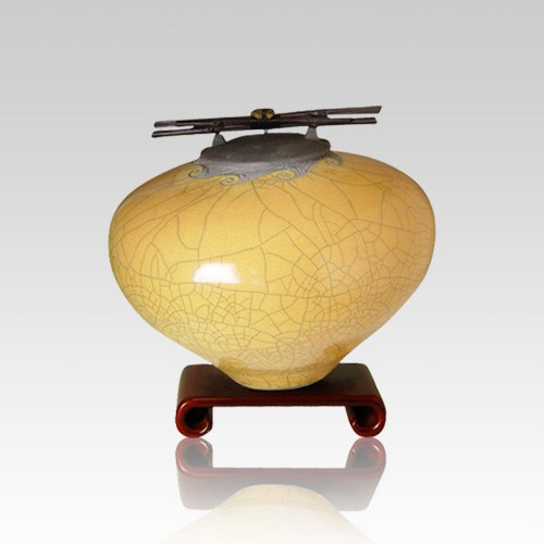 Raku Persimmon Small Cremation Urn