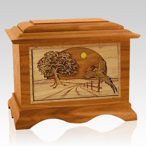 Pheasant Mahogany Cremation Urn