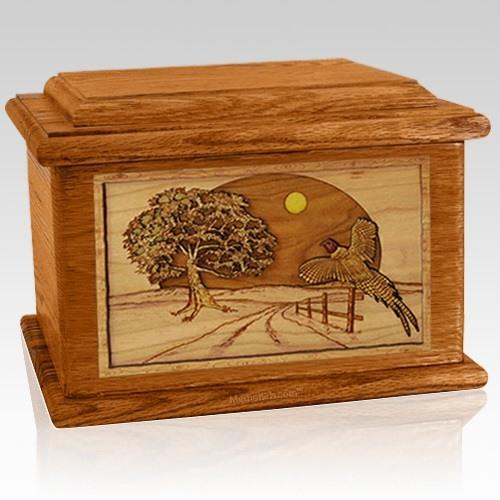 Pheasant Mahogany Memory Chest Cremation Urn