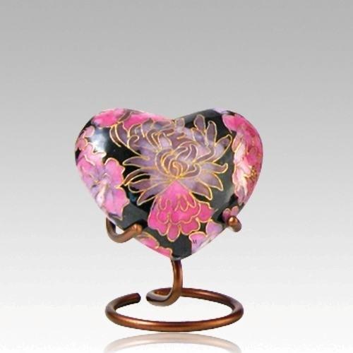 Pink Flowers Elite Heart Cloisonne Urn