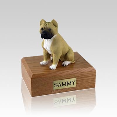 Pit Bull Tan & White Small Dog Urn