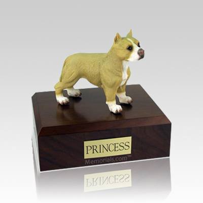 Pit Bull Tan & White Standing Medium Dog Urn