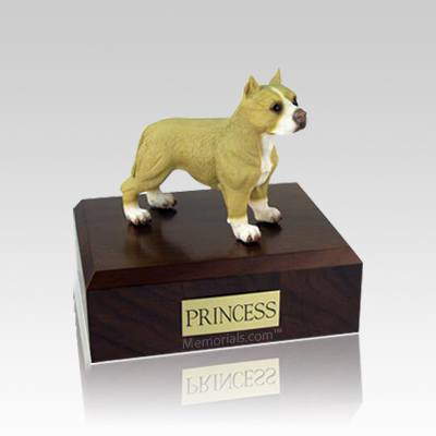 Pit Bull Tan & White Standing Small Dog Urn