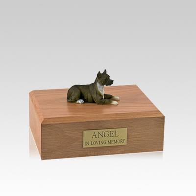 Pit Bull Terrier Brindle Laying Small Dog Urn