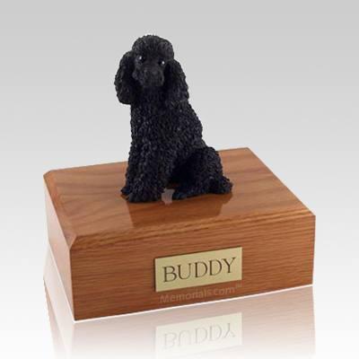 Poodle Black Sitting Large Dog Urn