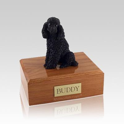 Poodle Black Sitting Small Dog Urn