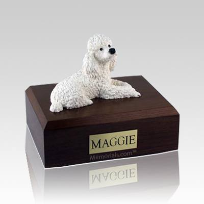 Poodle White Large Dog Urn