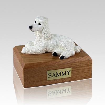 Poodle White Laying Large Dog Urn