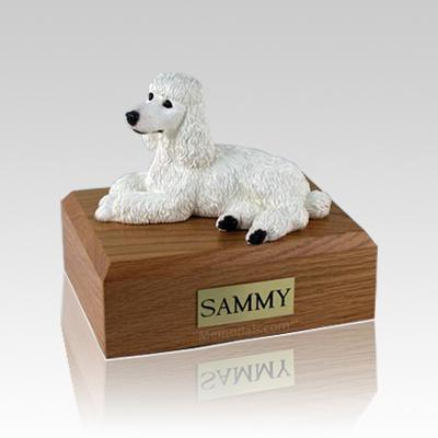Poodle White Laying Medium Dog Urn