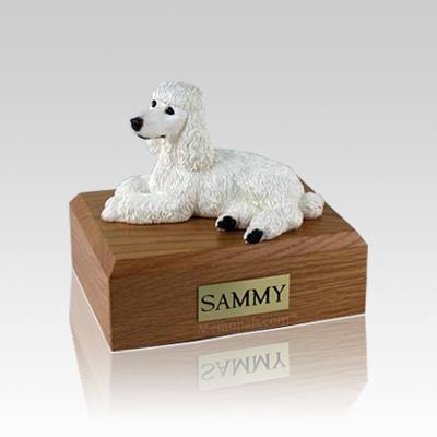 Poodle White Laying Small Dog Urn