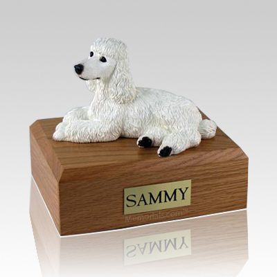 Poodle White Laying X Large Dog Urn