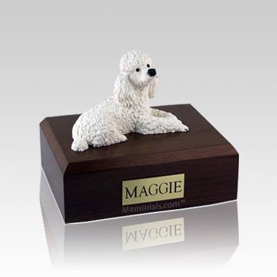 Poodle White Medium Dog Urn