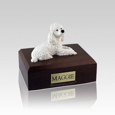 Poodle White Small Dog Urn