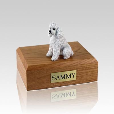 Poodle White Sport Cut Medium Dog Urn