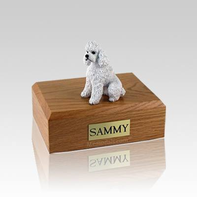 Poodle White Sport Cut Small Dog Urn