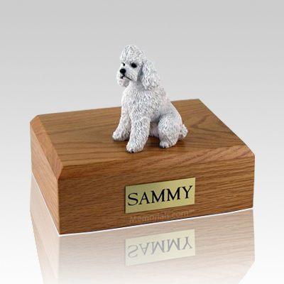 Poodle White Sport Cut X Large Dog Urn